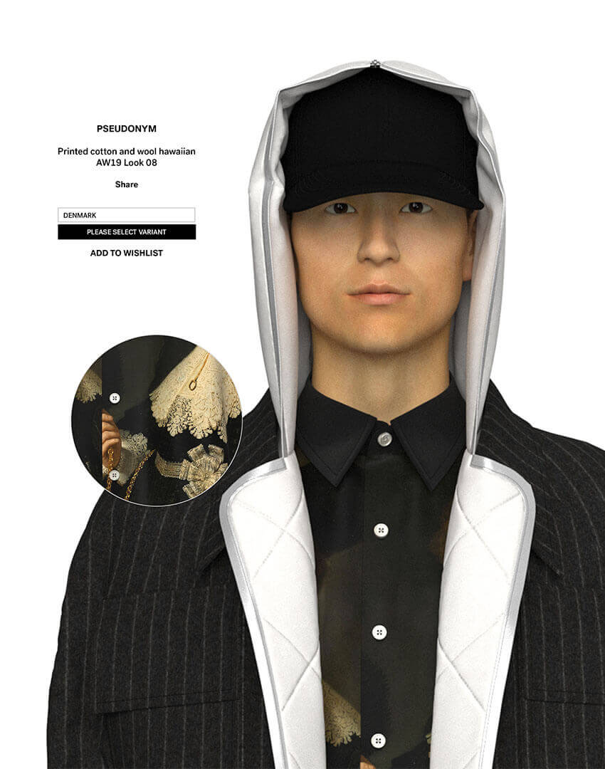 PSEUDONYM SS20 fashion/apparel campaign, Virtual Artifacts 06—puffer field coat with Rembrandt painting of A Lady And Gentleman In Black.