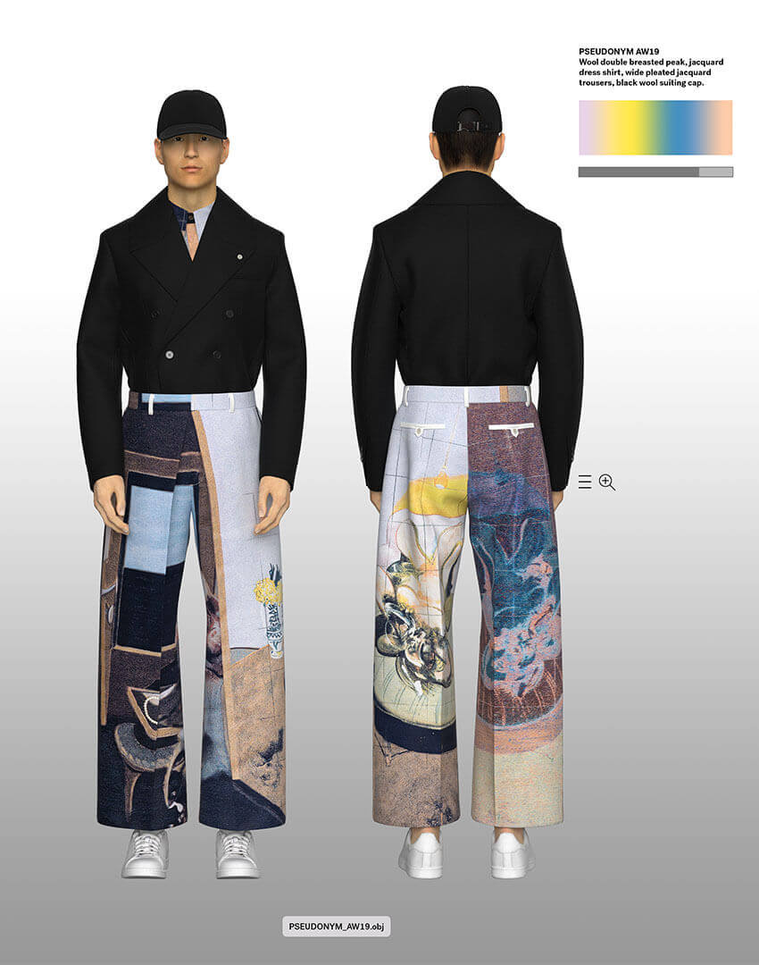 PSEUDONYM SS20 fashion/apparel campaign, Virtual Artifacts 09—coat tucked into pleated pants.