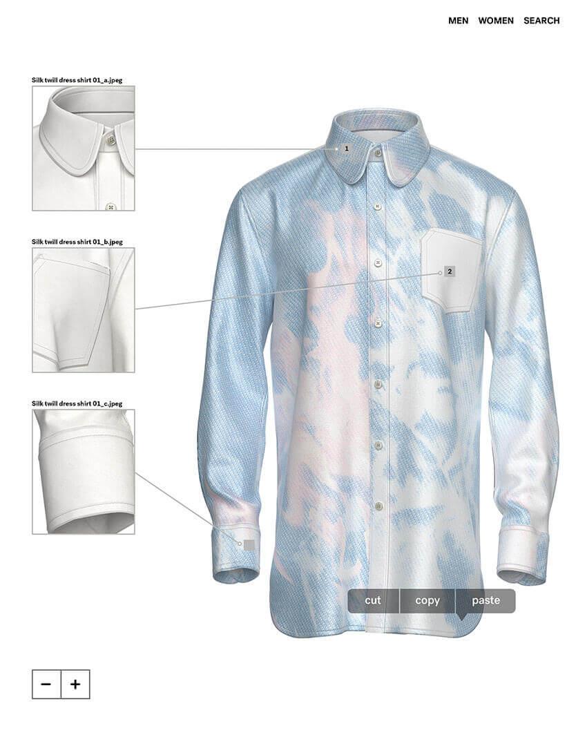 PSEUDONYM SS20 fashion/apparel campaign, Virtual Artifacts 10—flame shirt.