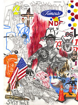 """Mixed media, """"Stream of Consciousness"""" artwork featuring male nude and Kanye West by Pseudonym founder Zheqiang (Jacques) ZHANG."""