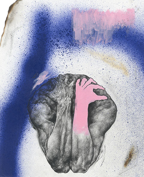 """Mixed media, """"Stream of Consciousness"""" artwork featuring male nude and spray paint by Pseudonym founder Zheqiang (Jacques) ZHANG."""