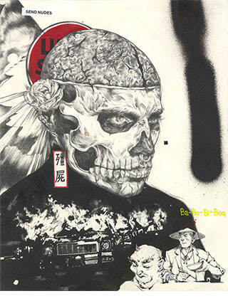 """Mixed media, """"Stream of Consciousness"""" artwork featuring Zombie Boy Rick Genest by Pseudonym founder Zheqiang (Jacques) ZHANG."""