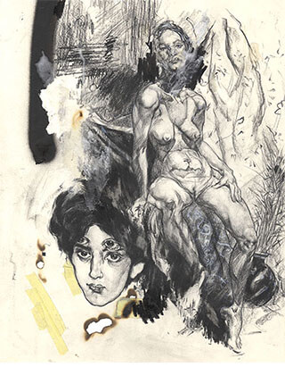 """Mixed media, """"Stream of Consciousness"""" artwork featuring female nude by Pseudonym founder Zheqiang (Jacques) ZHANG."""