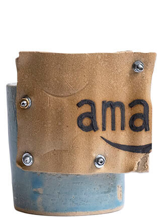 Glazed stoneware planter with corrugated cardboard detail, Pseudonym Objects for Everyday Living.