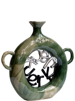 """Glazed stoneware vase with text spelling out """"JERK"""", Pseudonym Objects for Everyday Living."""