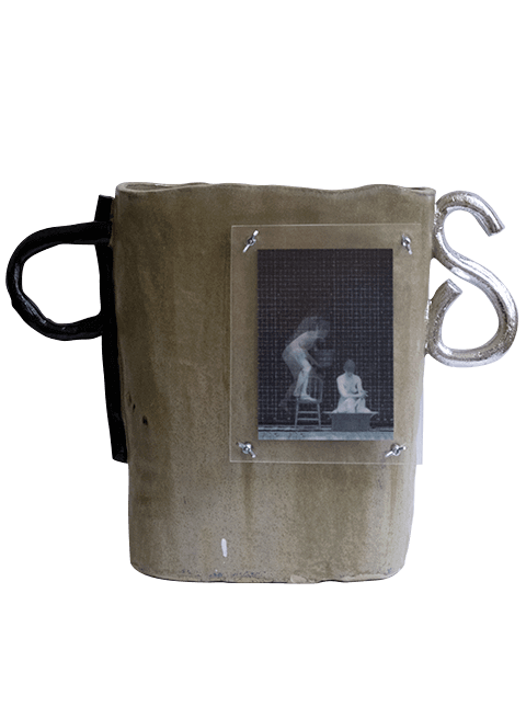 Glazed stoneware dust bin with metal hardware and lenticular print behind Plexiglas, Pseudonym Objects for Everyday Living.
