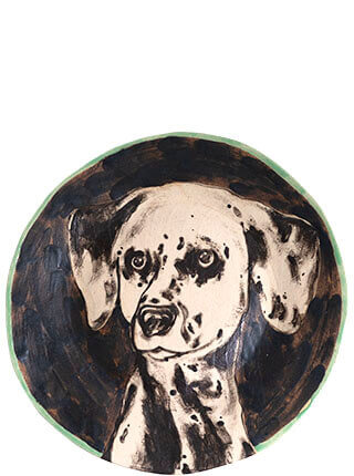 Glazed stoneware plate featuring a hand-drawn Dalmatian, Pseudonym Objects for Everyday Living.