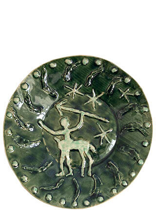 Glazed stoneware plate with mystical centaur from the rock art of Serra da Capivara in Brazil, Pseudonym Objects for Everyday Living.