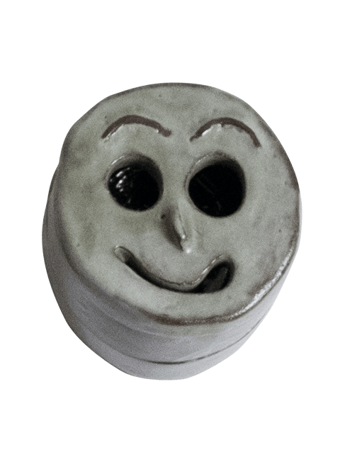 Glazed stoneware smiley face container, Pseudonym Objects for Everyday Living.