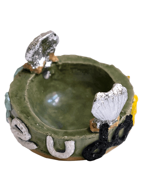 Glazed stoneware egg cup with seashell stabilizers in chrome, Pseudonym Objects for Everyday Living.