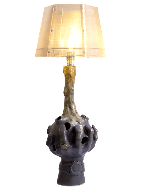 Glazed stoneware table lamp inspired by the Rudolph Tegner, with metal mesh screen and hardware, Pseudonym Objects for Everyday Living.