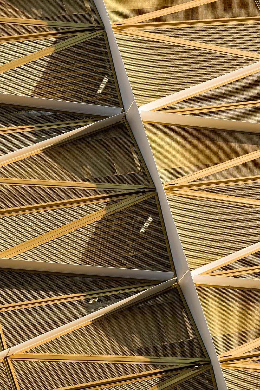 Striking golden exoskeleton façade