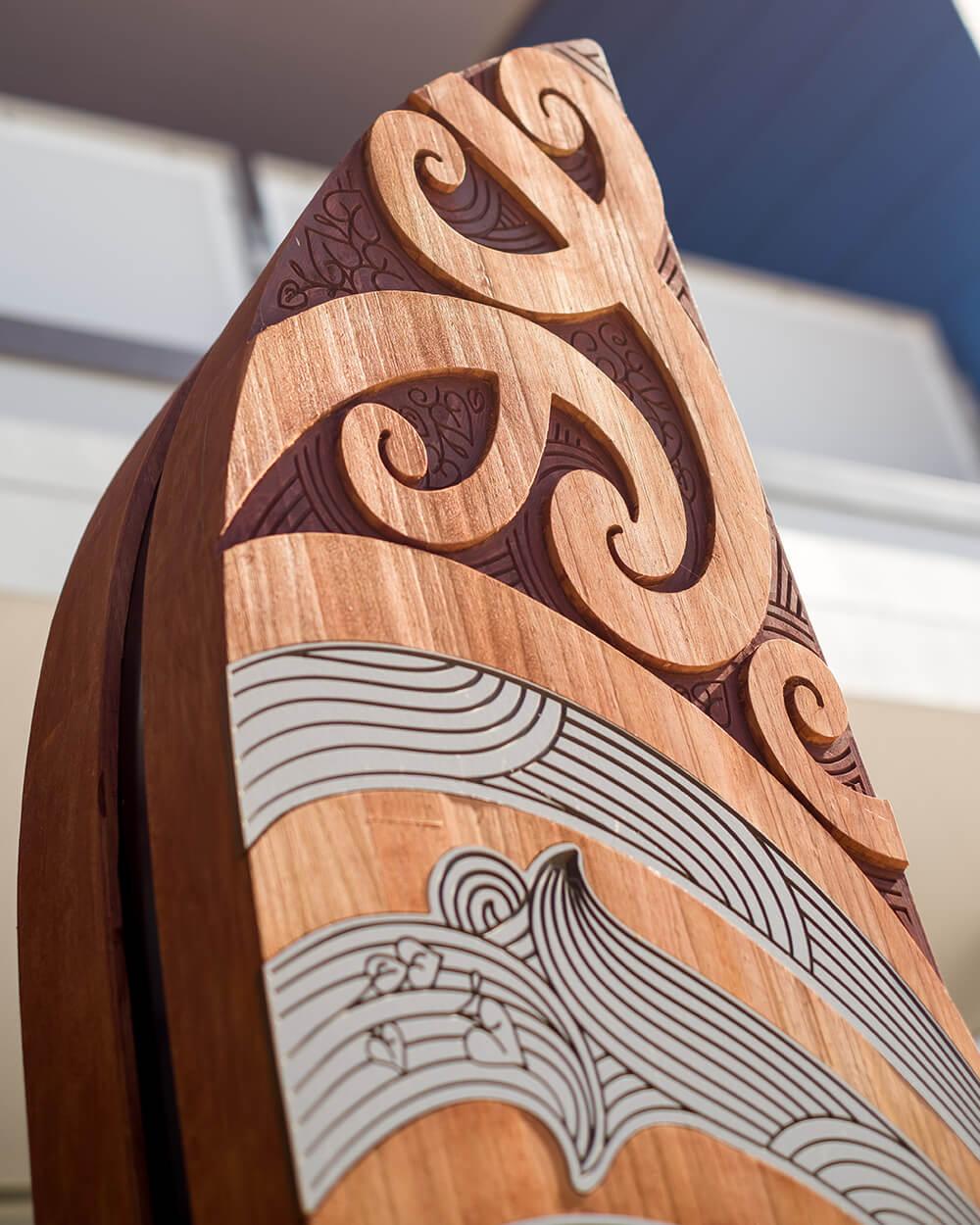 Pou form the waharoa (entry) to the school