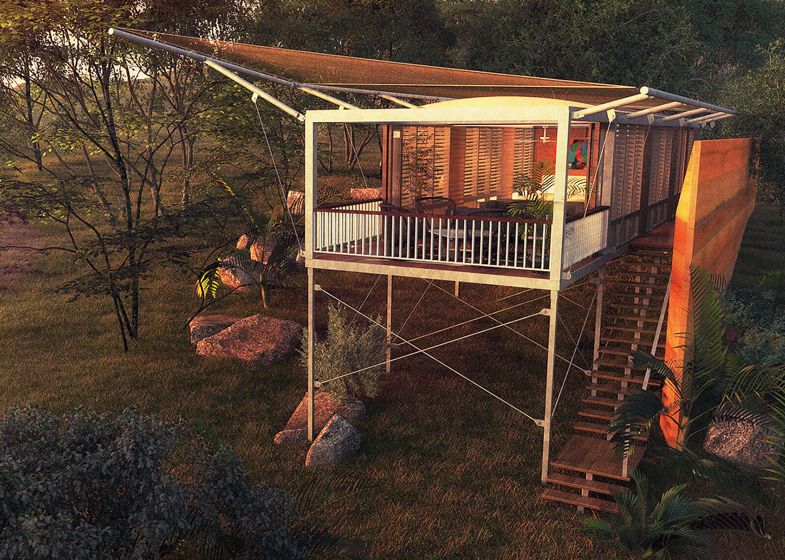 Modular cabanas fabricated off-site