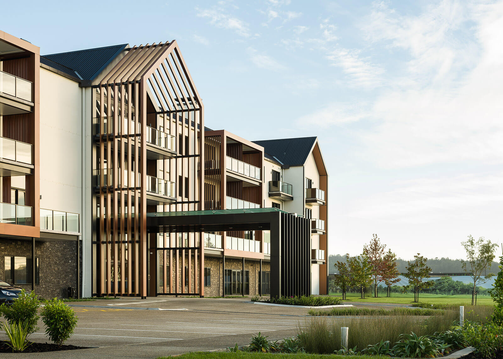 Cedar cladding and timber louvres