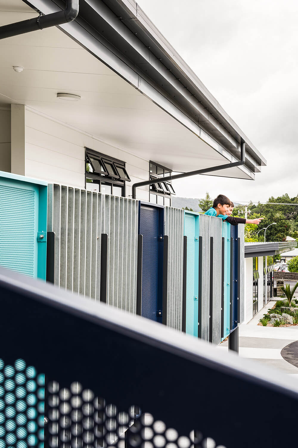 Balustrades reflect the school colours