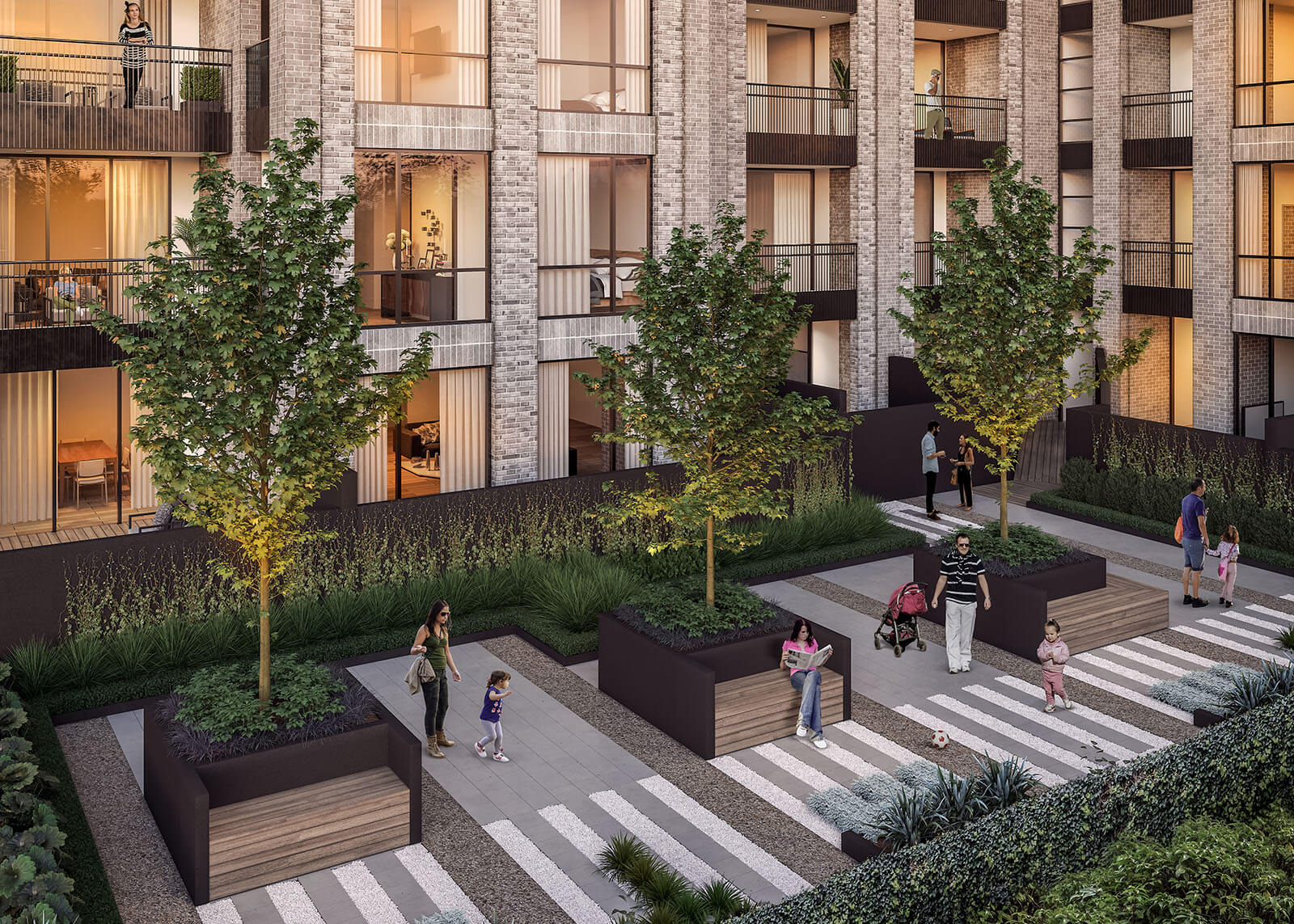 The shared courtyard space