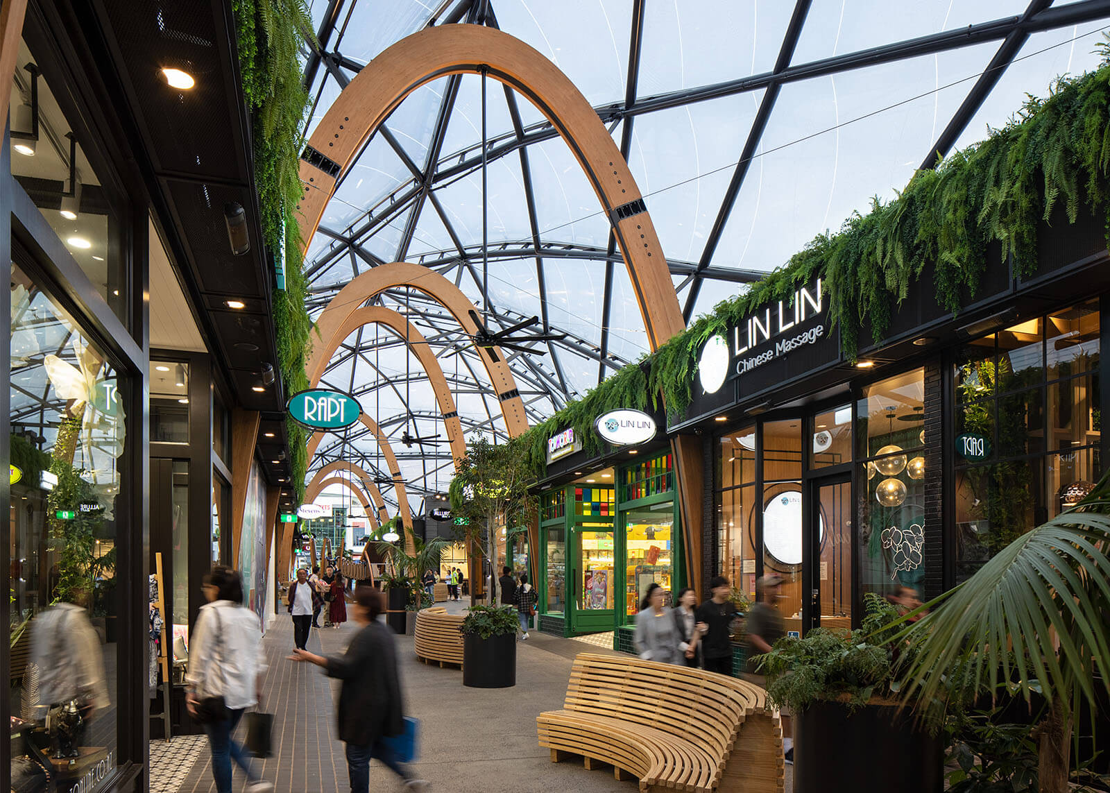 The canopy creates an open-air atmosphere