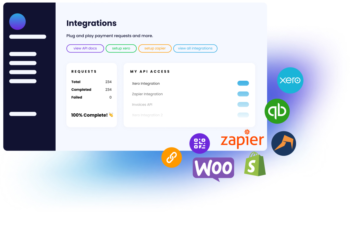 Integrations with Xero, QuickaBooks, Zapier, WooCommerce and many more.