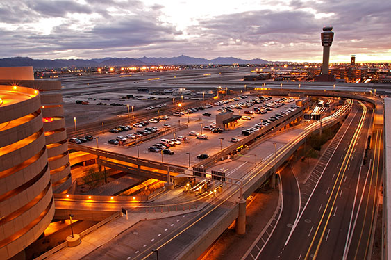 aerial view of phoenix international airport