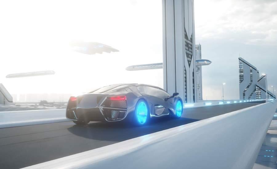futuristic car on road