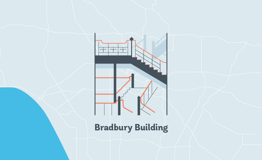 bradbury building LA grapic