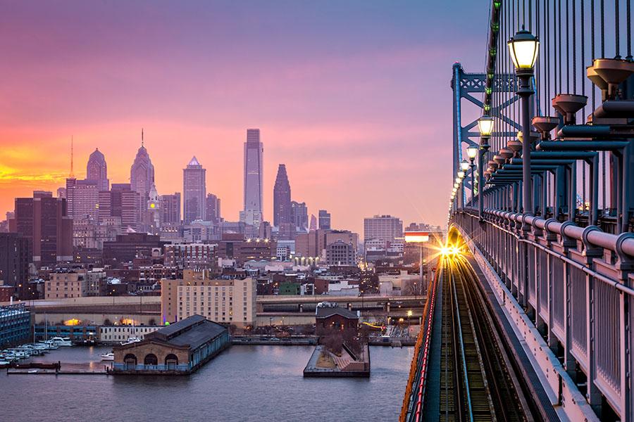 bridge with train into philadelphia