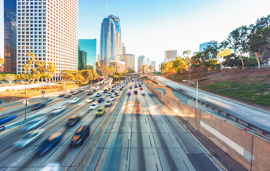 los angeles highway into city skyline
