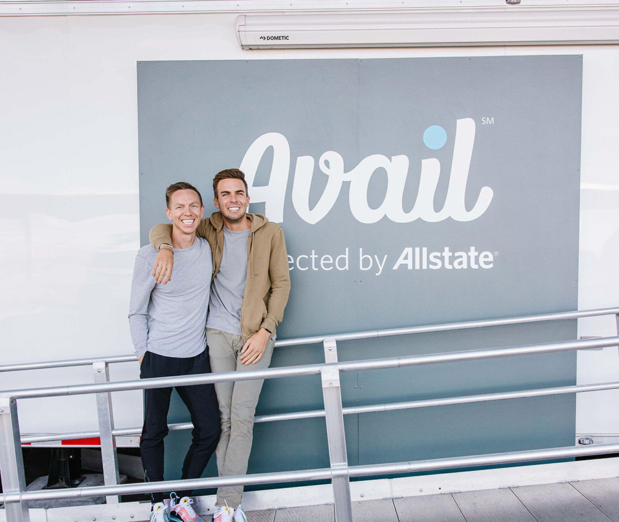 couple standing outside avail trailer