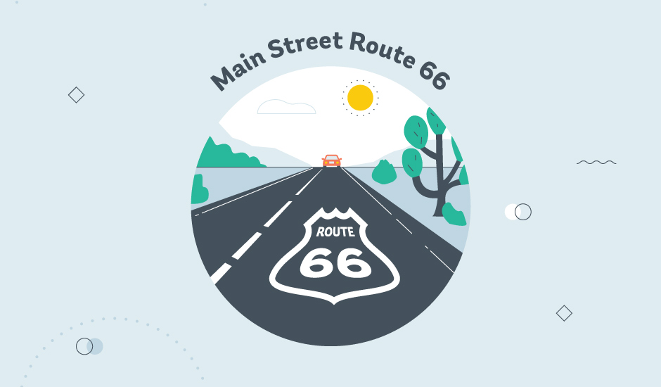 main street USA route 66 museum graphic