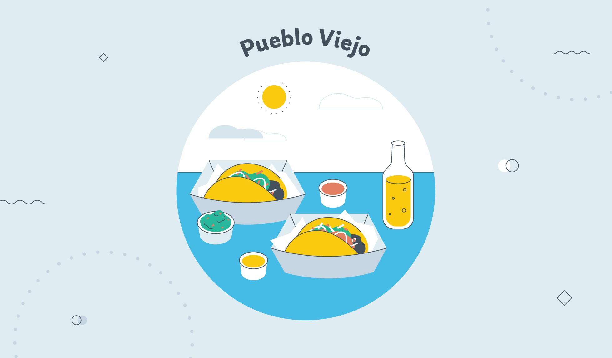 Pueblo Viejo tacos graphic