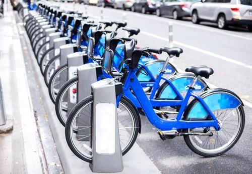 bike sharing on a city street