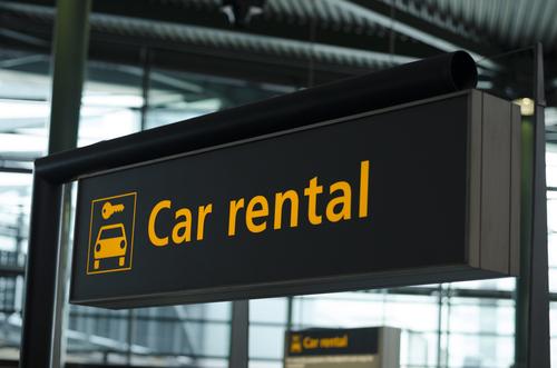 car rental sign at airport