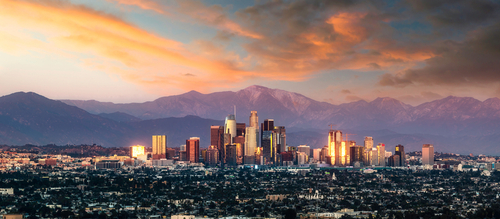 los angeles skyline with mountains