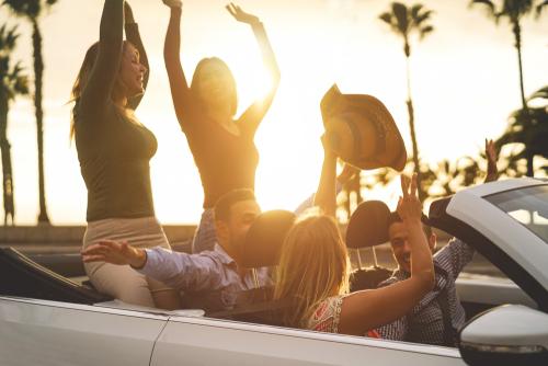 people in rental car in californica