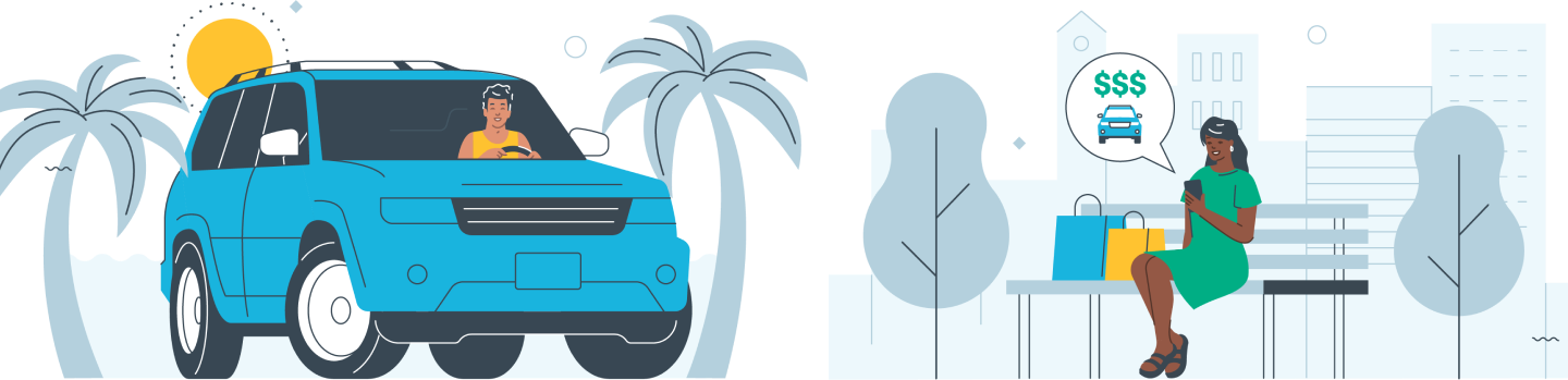 Graphic of a person in an SUV and a woman at a park bench, holding a phone with an icon of a car and dollar signs.