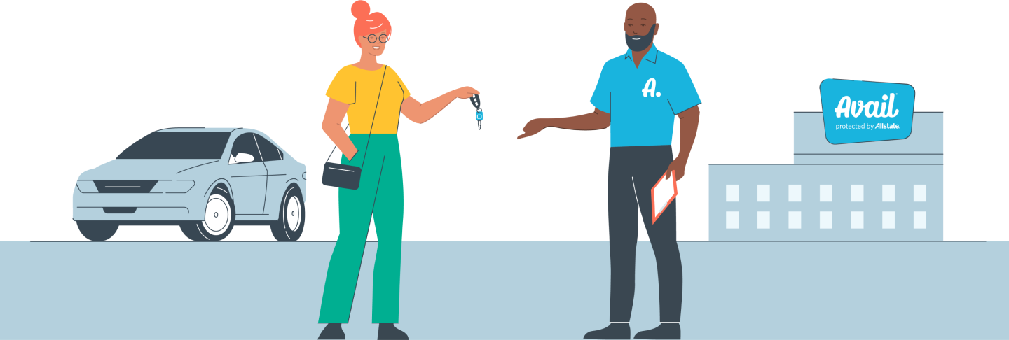 Graphic of a customer handing keys back to an avail representative.
