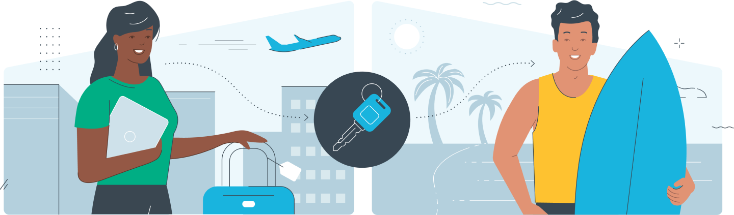 Graphic of 2 people, one with a laptop and suitcase, one with a surfboard.