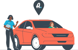 Graphic of a person entering a red car.