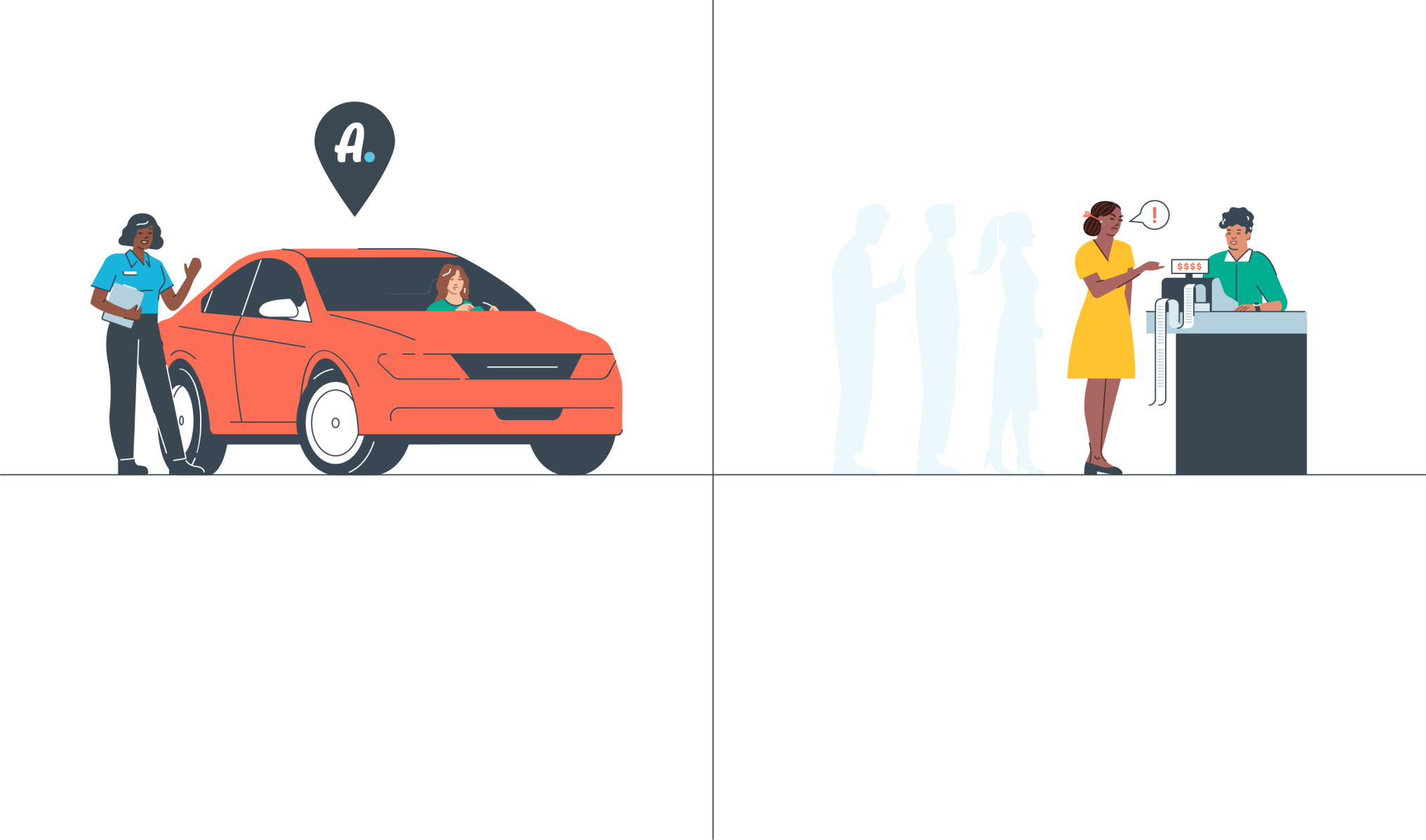 Graphic of a red car with a person entering, across from people waiting in line at a counter.