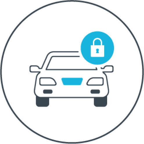 Graphic of a car with a lock icon.