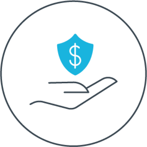 Graphic of a hand holding a shield with a dollar sign on it.