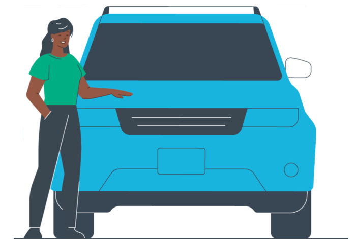 Graphic of a person in a green shirt standing next to a blue vehicle.
