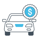 Graphic of a car with a dollar sign on it.