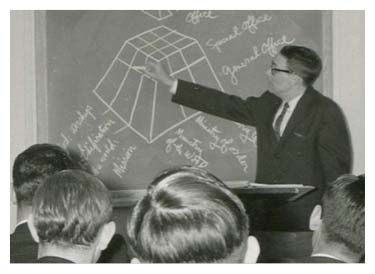old photo of professor teaching in front of class