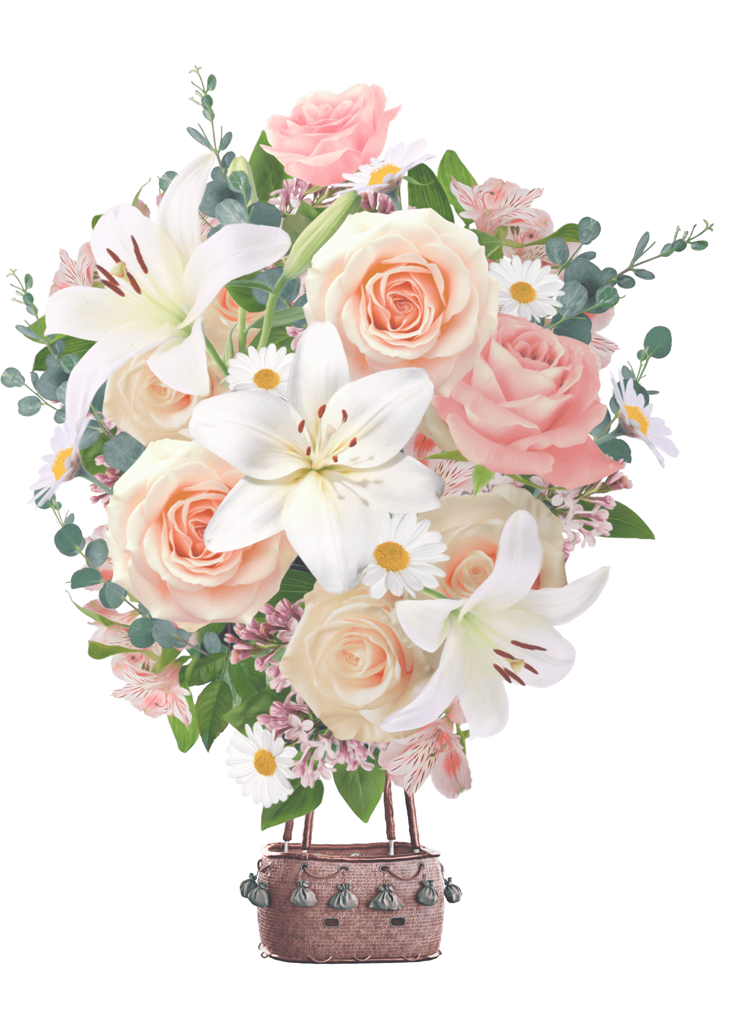 A hot air balloon made up of a colorful floral arrangement consisting of pink roses, white lilies and daisies.