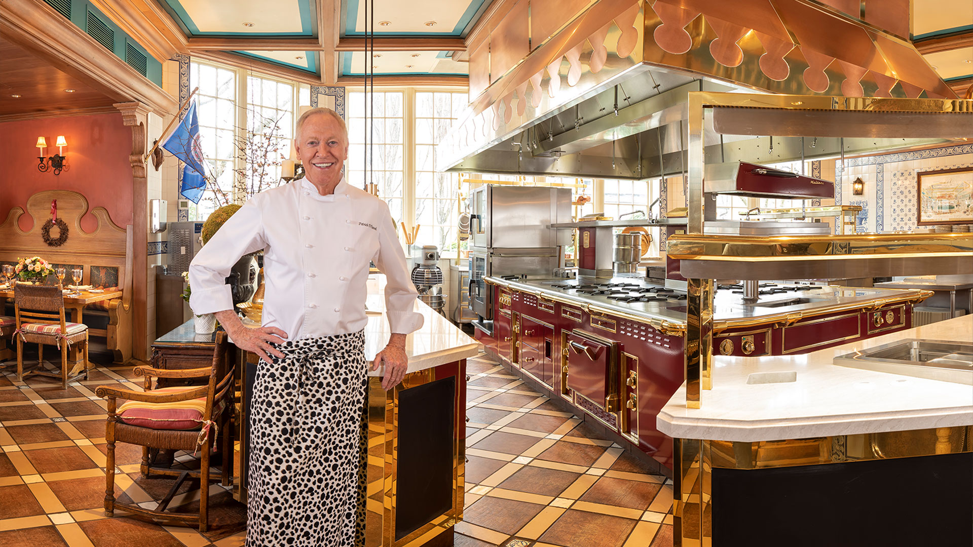 Chef Patrick O'Connell standing in front of a newly renovated kitchen.