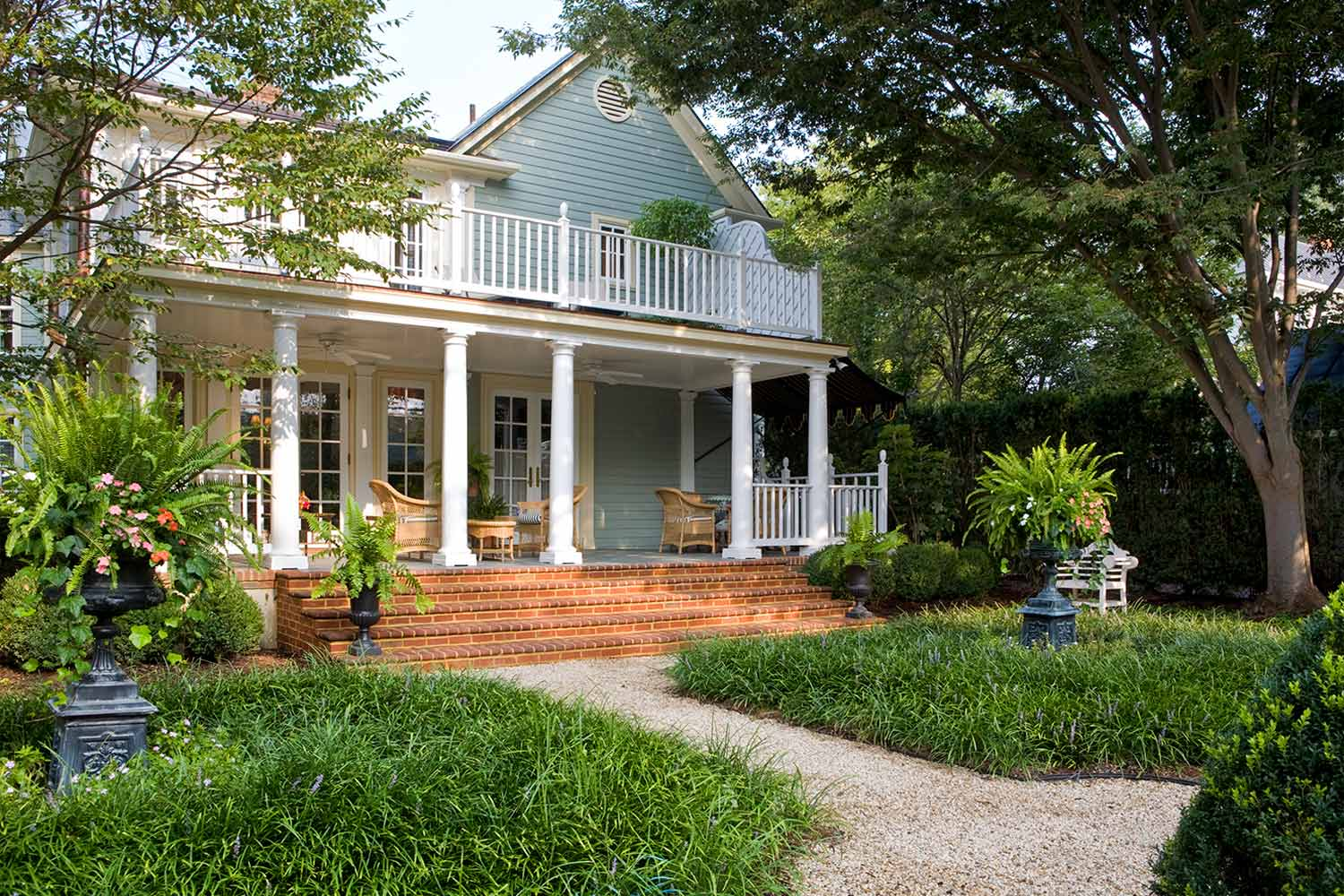 The back porch and garden of the Claiborne House.