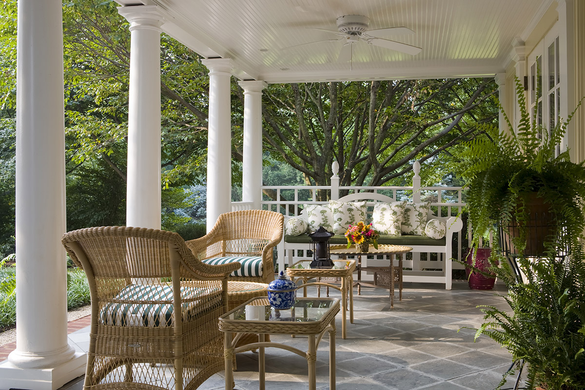 The porch of the Claiborne House. on a sunny day.