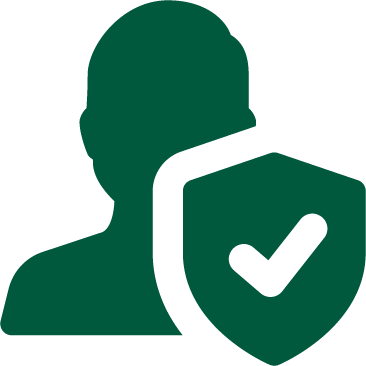 A green graphic of a silhouette of a person with a shield and a checkmark in front.